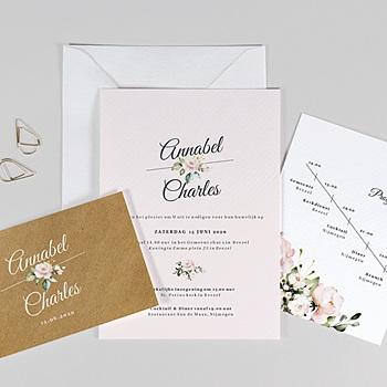 Landelijke trouwkaarten Romantisch Kraft 3 kaarten