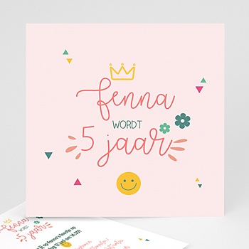 Verjaardagskaarten kinderen Prinses Girly Vierkant
