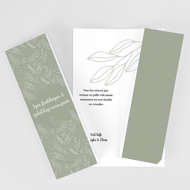Wenskaarten Boekenlegger, dubbele kaart, groen