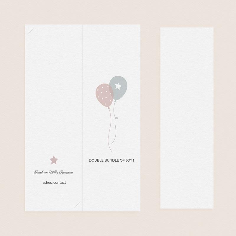 Geboortekaartjes Tweeling Ballonnen, 3 foto's, boekenlegger pas cher