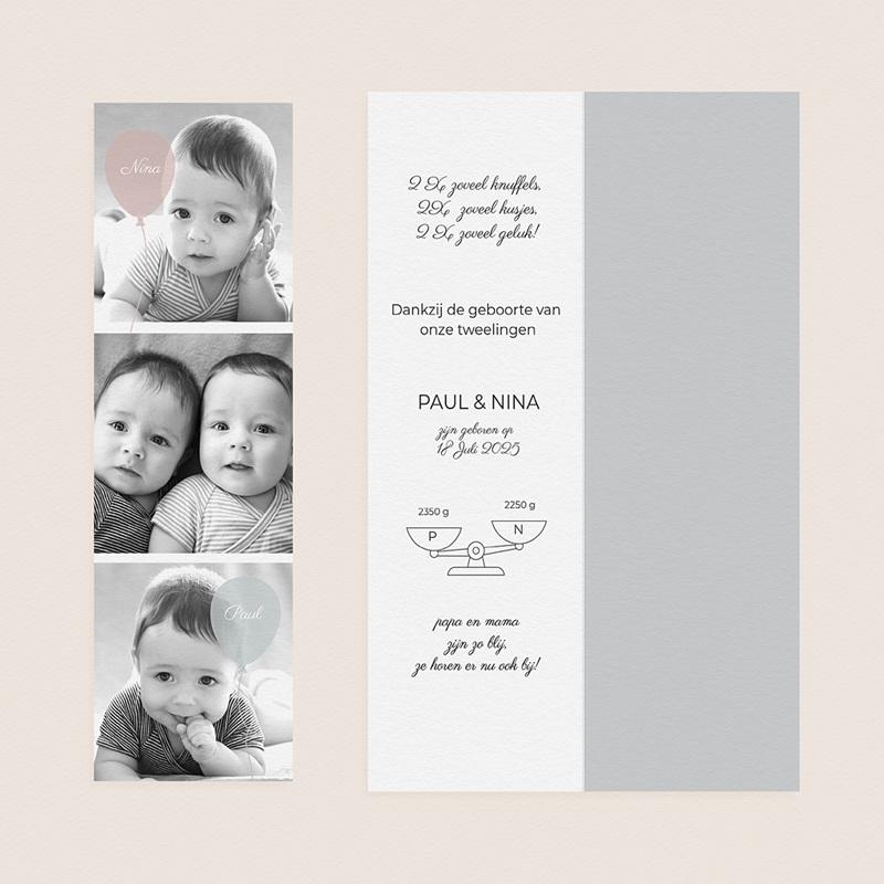 Geboortekaartjes Tweeling Ballonnen, 3 foto's, boekenlegger gratuit