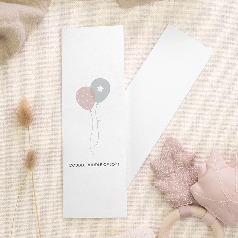 Geboortekaartjes Tweeling Ballonnen, 3 foto's, boekenlegger