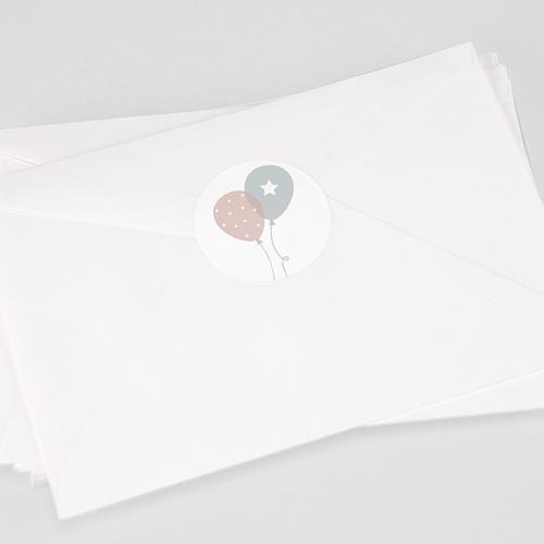 Sticker Geboorte Ballonnen, Tweelingen, Ø 4,5 cm