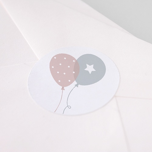 Sticker Geboorte Ballonnen, Tweelingen, Ø 4,5 cm pas cher