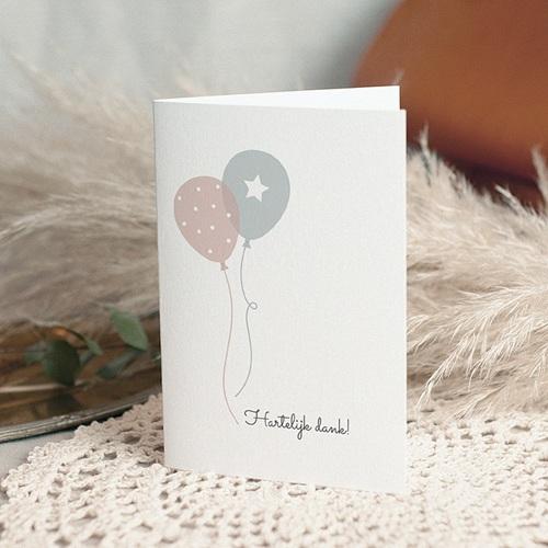 Bedankkaartjes Geboorte Tweeling Ballonnen, 3 foto's, dubbele kaart