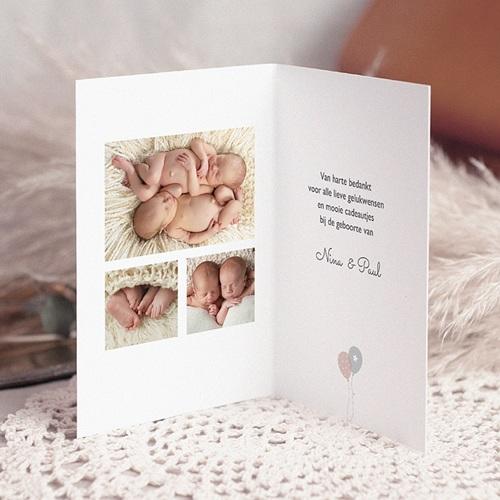 Bedankkaartjes Geboorte Tweeling Ballonnen, 3 foto's, dubbele kaart pas cher