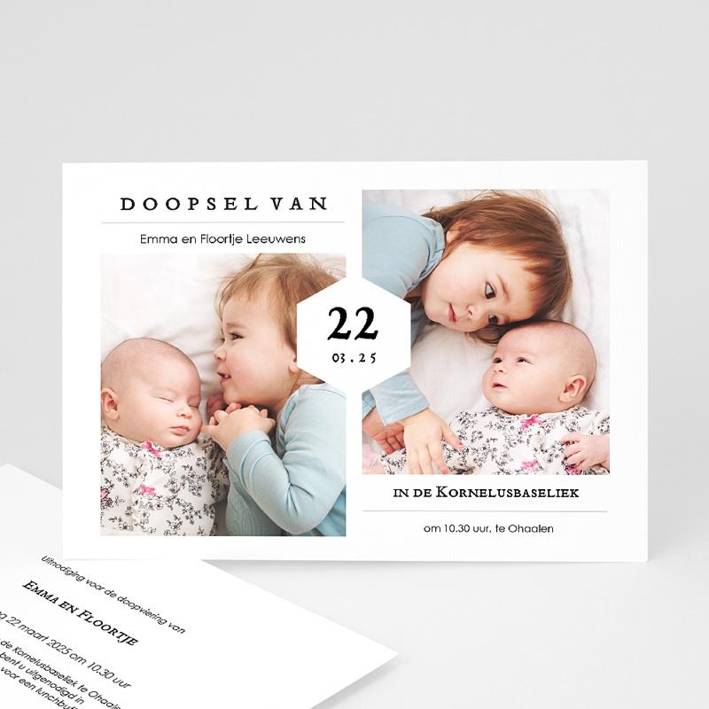 Doopkaartjes voor een Broertje of Zusje Doopfeest, twee foto's, 16,7 x 12