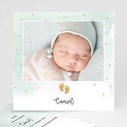 Geboortekaartjes Jongen - Kleine Voeten, Goudfolie - 0