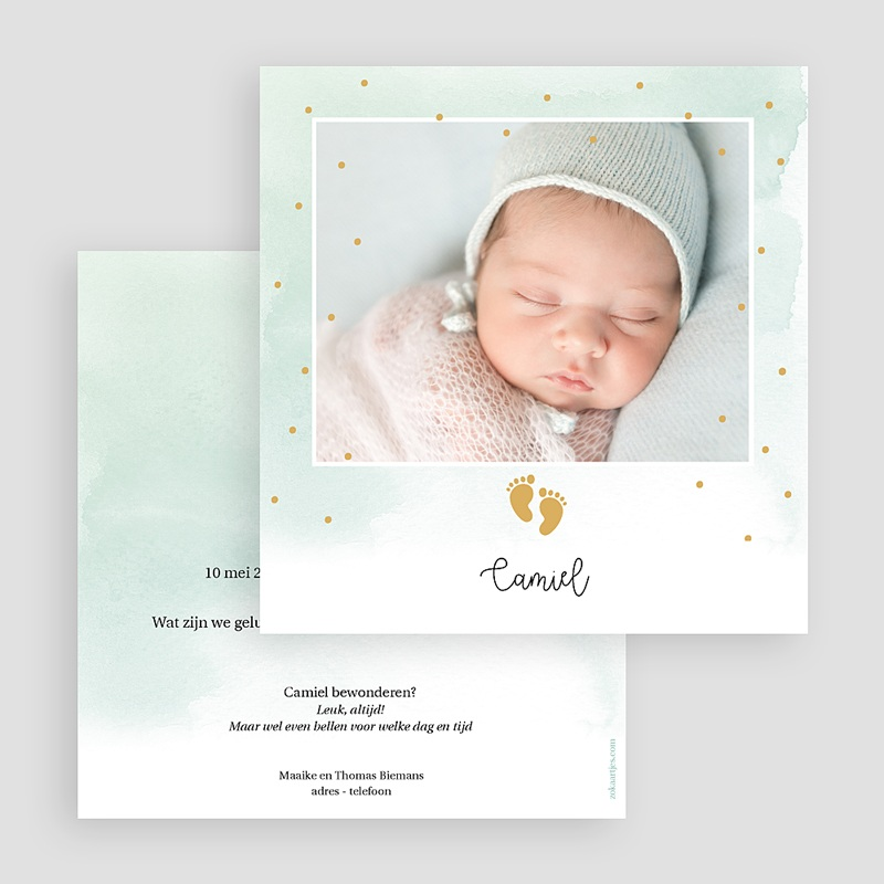 Geboortekaartjes Jongen Kleine Voeten, Goudfolie gratuit
