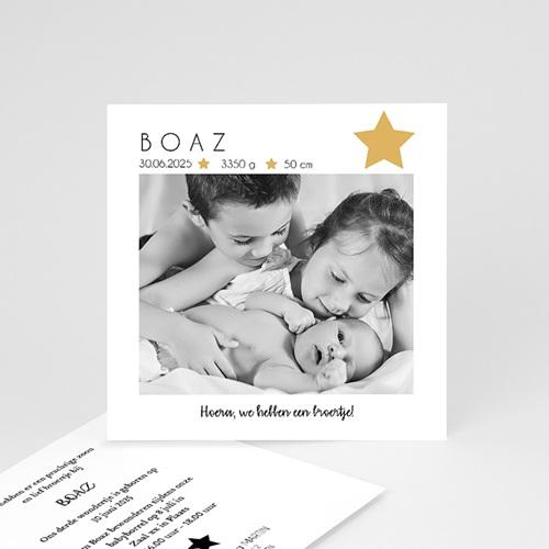 Geboortekaartjes met sterren Foto, Ster, Goudfolie