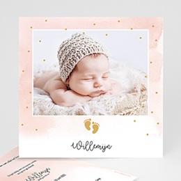 Geboortekaartjes Meisje - kleine voetstapjes, Goudfolie - 0