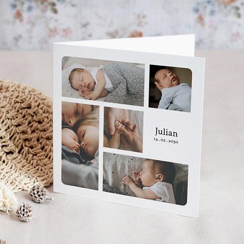 Geboortekaartjes Jongen Multifotos, vierkant, dubbele kaart