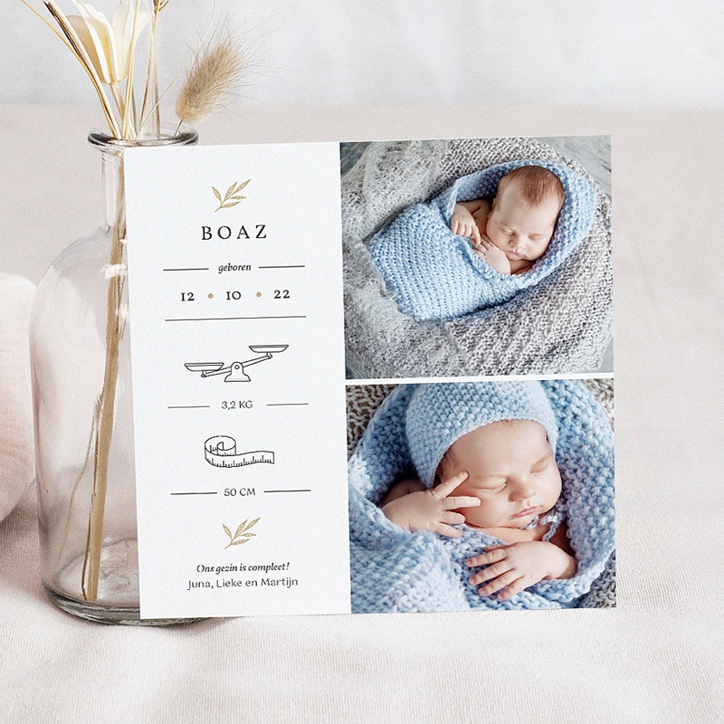 Geboortekaartjes Jongen Goudtakje, 2 Foto's