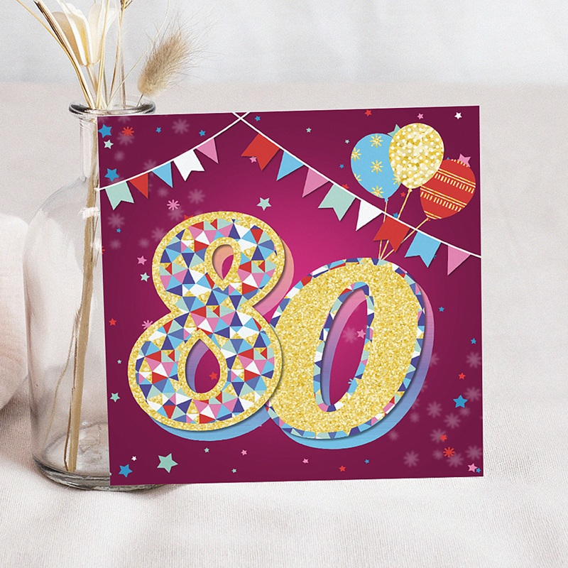 Beste 80 Jaar Oud Uitnodigingen Verjaardag Circus, 80 jaar, 3D vernis LE-55