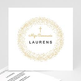 Uitnodigingen Communie - Kroon, kruis en gouden stippen, 14,5 x 15 - 0