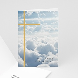 Condoleancekaarten - Gouden kruis, oprechte deelneming, 10,5 x 15 cm - 0