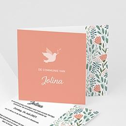 Uitnodigingen Communie - Vredesduif en bloemen, Roze, 12 x 10 cm - 0
