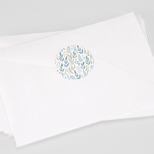 Sticker Communie Blauw gebloemde achtergrond, 4,5 cm