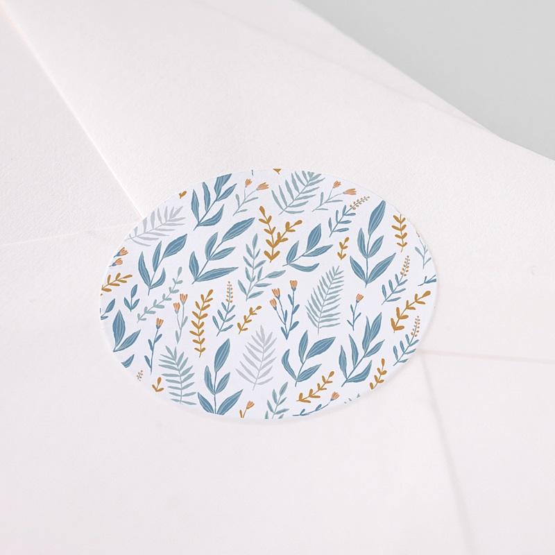 Sticker Communie Blauw gebloemde achtergrond, 4,5 cm pas cher