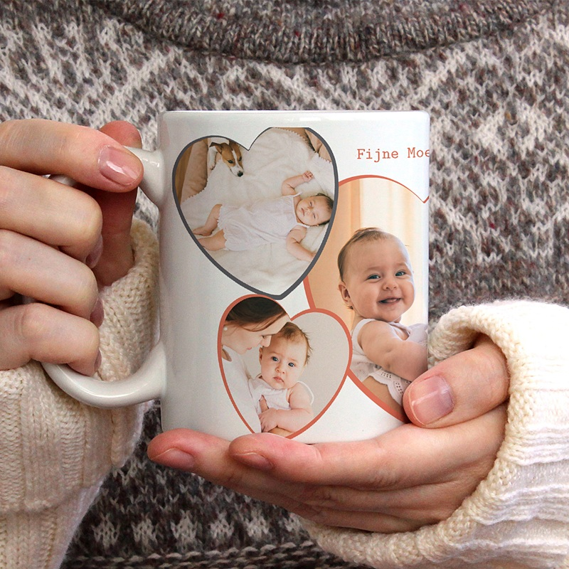 Gepersonaliseerde Fotomokken Moederdag Love my Mom, 3 foto's gratuit