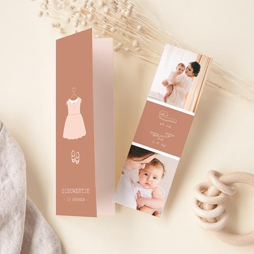 Geboortekaartjes Meisje Roze jurkje, foto's, boekenlegger