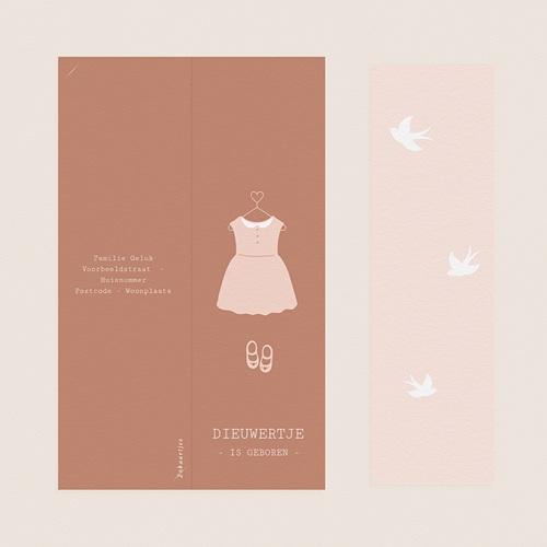 Geboortekaartjes Meisje Roze jurkje, foto's, boekenlegger pas cher
