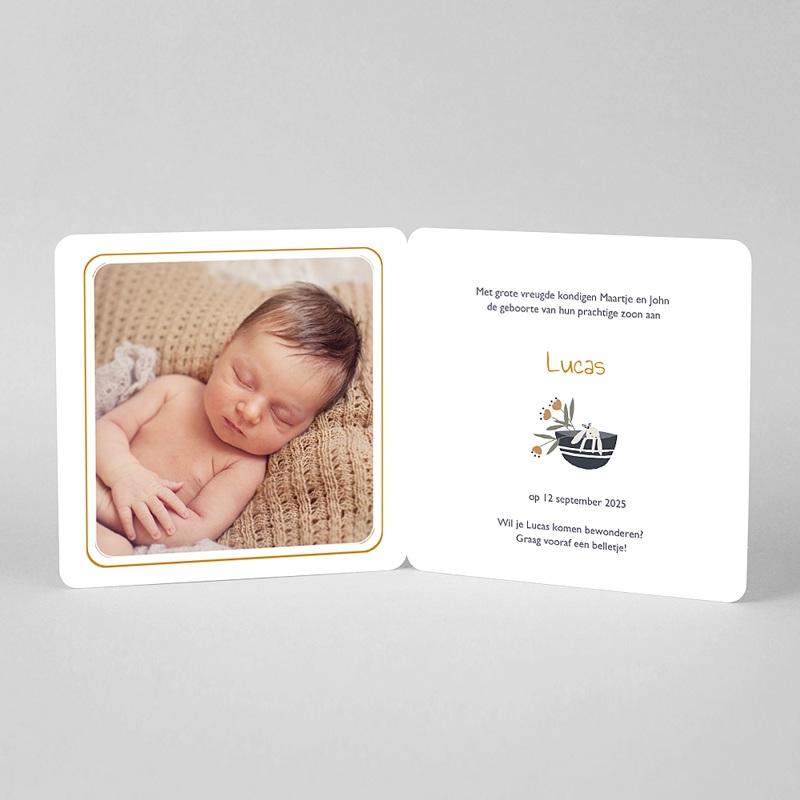 Geboortekaartjes Jongen Geluksmandje met rond hangertje pas cher