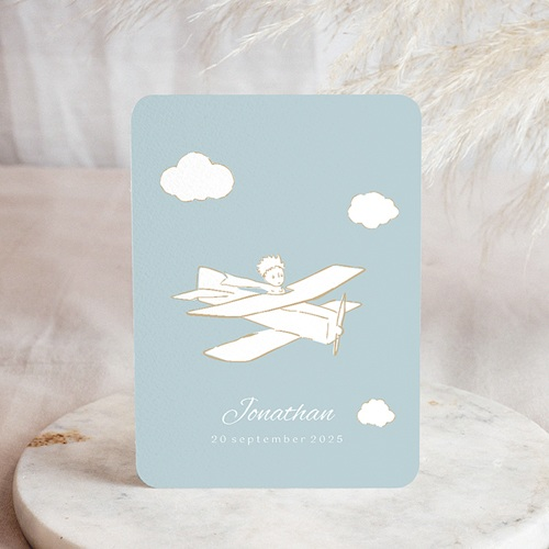 Geboortekaartjes De Kleine Prins Kleine Prins in zijn vliegtuig, blauw