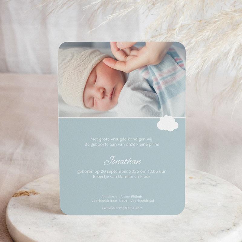 Geboortekaartjes De Kleine Prins Kleine Prins in zijn vliegtuig, blauw pas cher