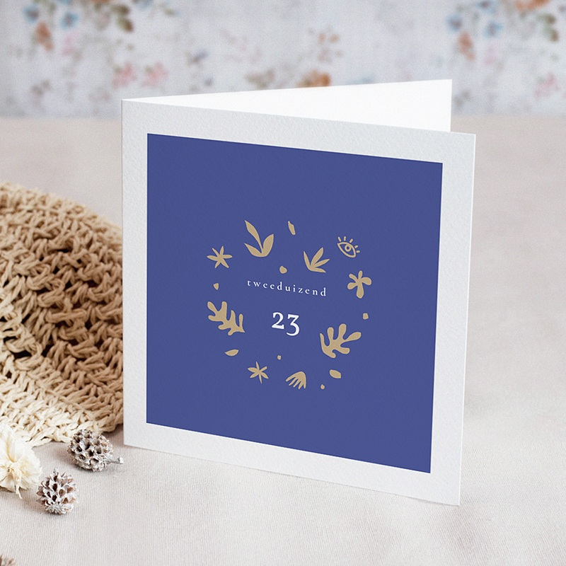 Gelukkig Nieuwjaarskaart Majorelle Blauw, Gouden Kroon