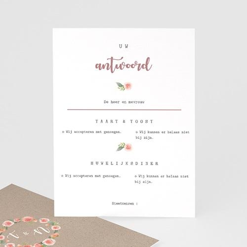 Antwoordkaartjes Bruiloft Krans pioenrozen, RSVP kaart