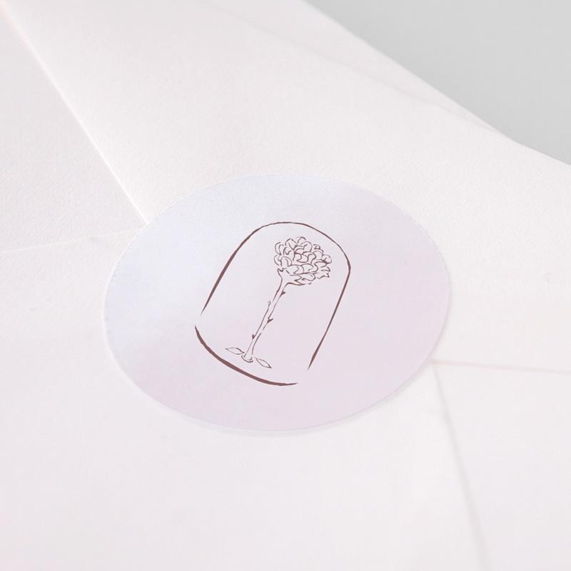 Sticker Geboorte Kleine prins en roos, sluitzegel pas cher
