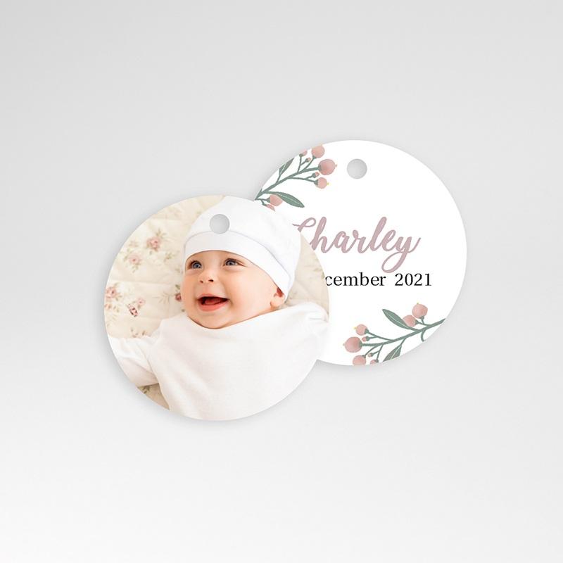 Geschenk Etiket Geboorte Poëzie in pastel, ronde hanger geperforeerd, 4,5 cm pas cher