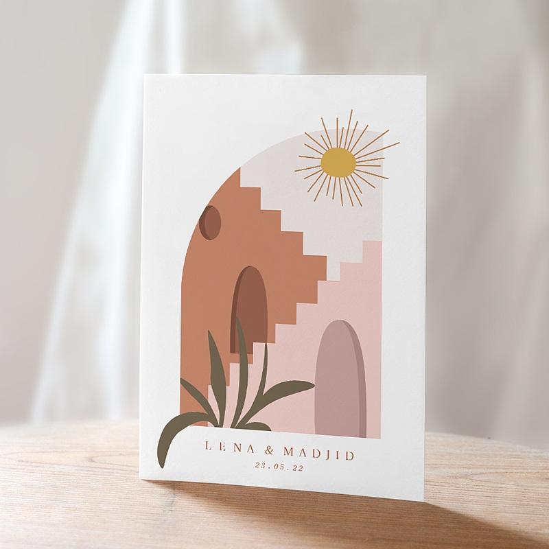 Reizen Trouwkaarten Zonneschijn van de Medina, Kruidenkleuren, Goudfolie