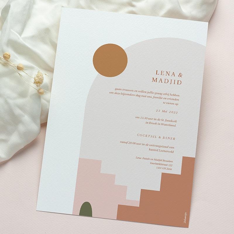 Reizen Trouwkaarten Zonneschijn van de Medina, Kruidenkleuren, Goudfolie gratuit