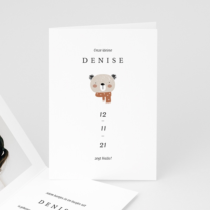Geboortekaartjes met Dieren Kleine Winterbeer, Aloë Vera, dubbele kaart