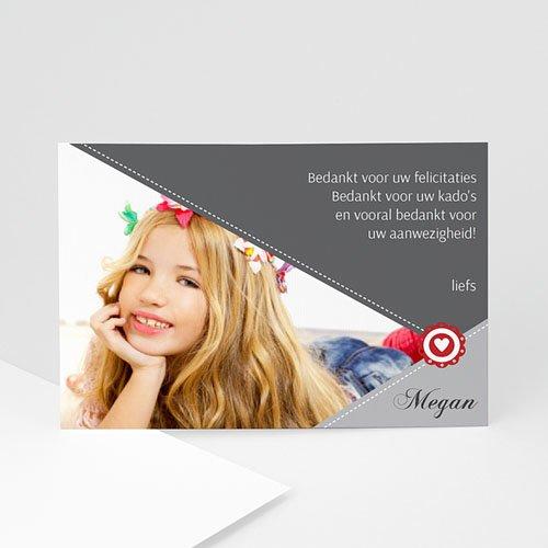 Bedankkaart communie meisje - Zegel in grijs 9801 thumb