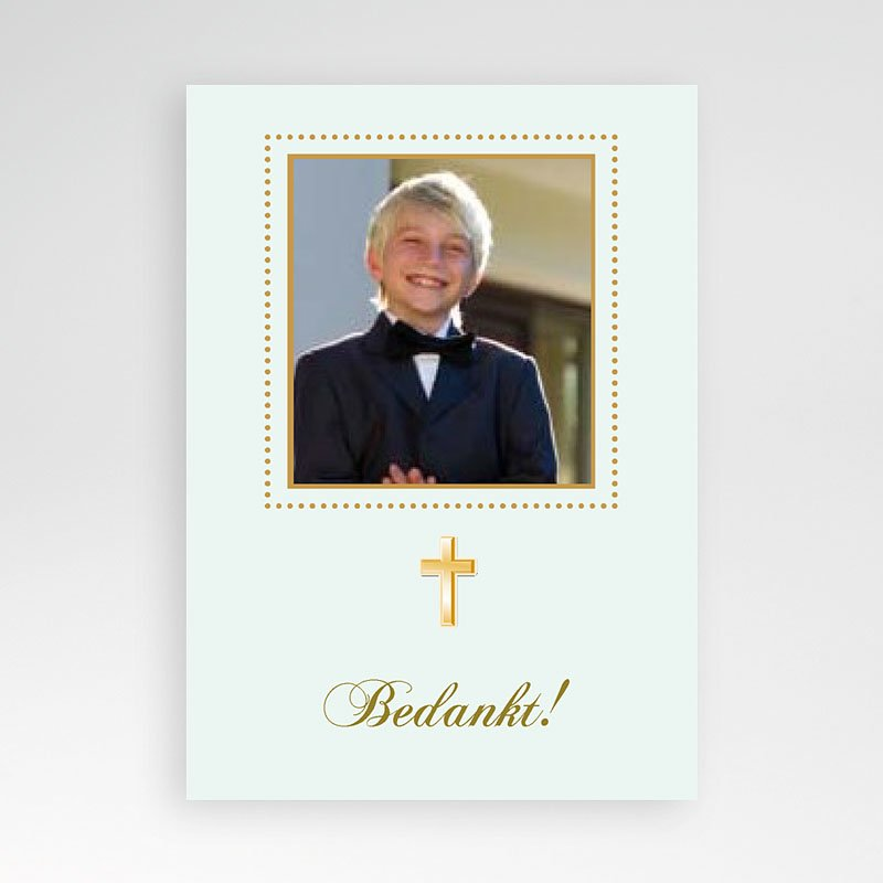 Bedankkaart communie jongen Licht groene communie, zoon