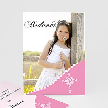 Bedankkaart communie meisje - Roze om de hoek - 1