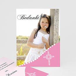 Bedankkaartjes Communie Roze om de hoek