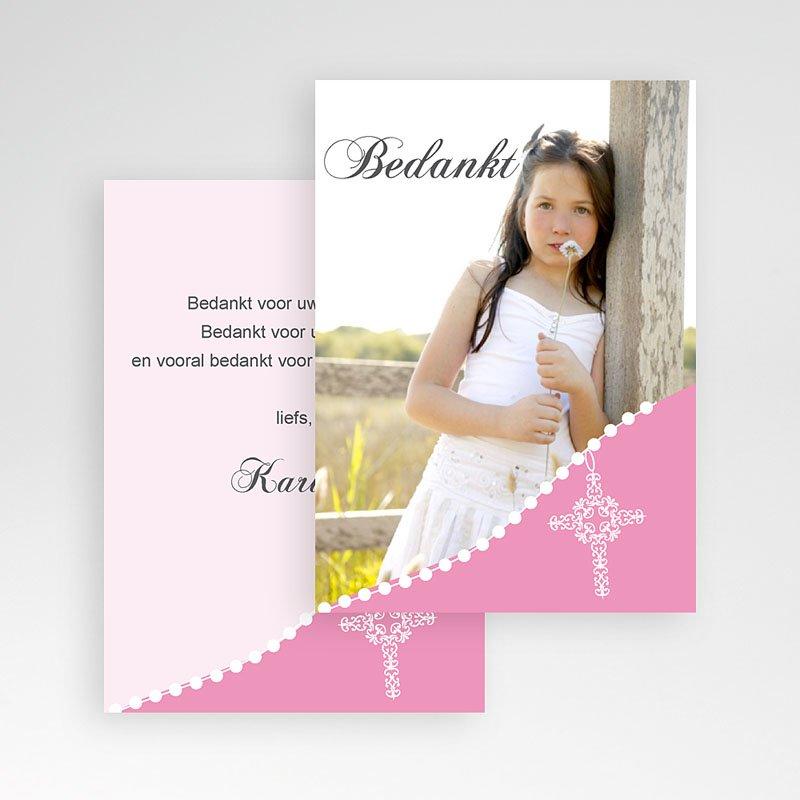 Bedankkaart communie meisje - Roze om de hoek 9818 thumb