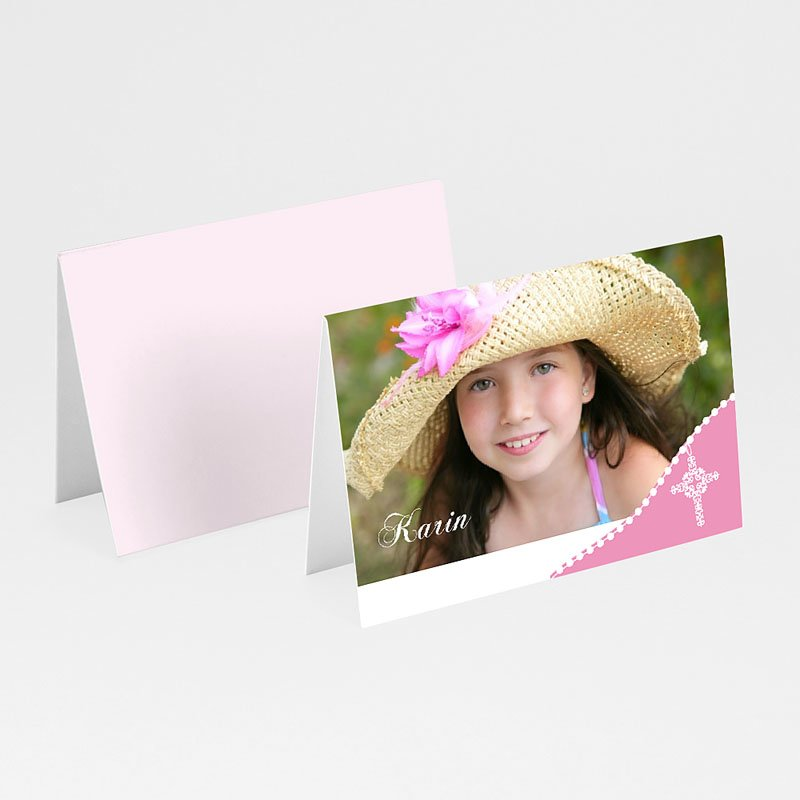 Plaatskaartjes Communie - Roze om de hoek 9823 thumb