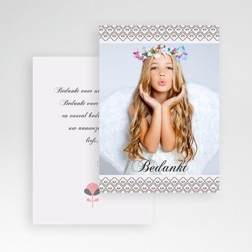 Bedankkaart communie meisje - Klavertje vier communie 9834 thumb