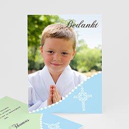 Bedankkaart communie jongen Om de hoek