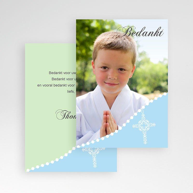 Bedankkaart communie jongen - Om de hoek 9860 thumb