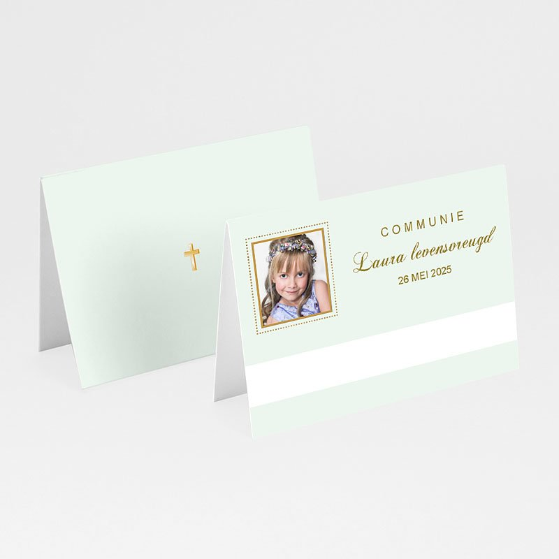 Plaatskaartjes Communie - Licht groene communie 9911 thumb