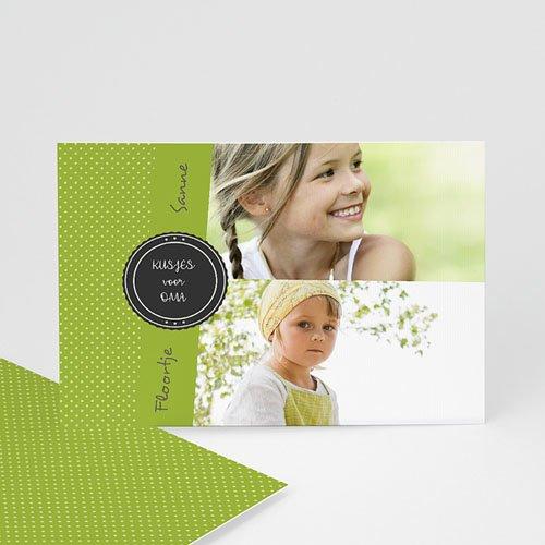 Fotokaarten met 2 foto's - Groen en witte stippen 9923 thumb
