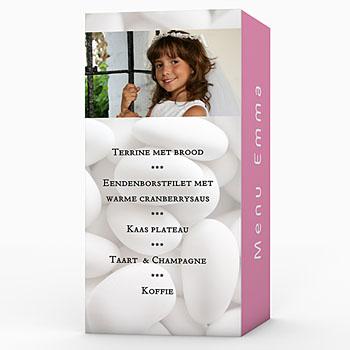 Menukaart communieviering - Bruidsuikers roze - 1