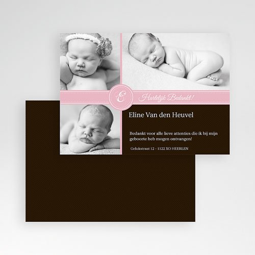 Bedankkaartje geboorte dochter - Ons meisje op de kaart 9966 thumb