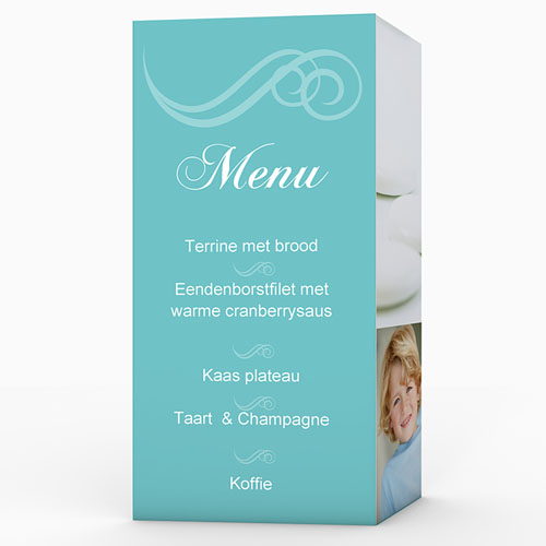 Menukaart communieviering - Turquoise en bruidsuiker 9973 thumb